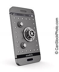 téléphone, isolé, illustration, arrière-plan., protection, blanc, 3d