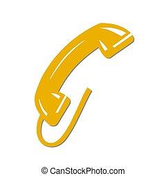 téléphone, isolé, jaune, récepteur