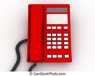 téléphone, isolé, rouges