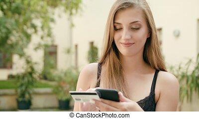 téléphone, jeune, crédit, tenue, utilisation, dame, carte
