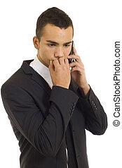 téléphone, jeune, homme affaires