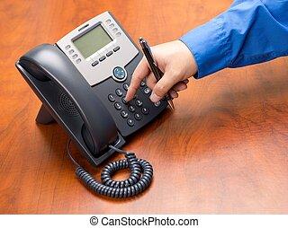 téléphone, landline, nombre, composer, main