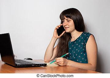 téléphone, laptop., bureau bureau, femme affaires, séance