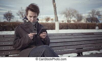 téléphone, ligne, hiver, intelligent, banc, carte, crédit, payant, saison, hommes
