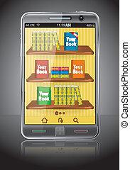 téléphone, livres, intelligent