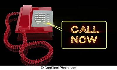 téléphone, maintenant, appeler, rouges, urgence