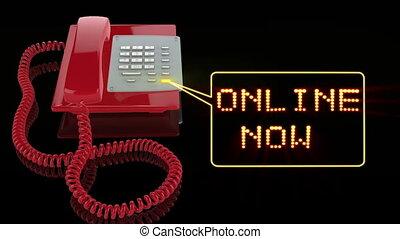 téléphone, maintenant, rouges, urgence, ligne