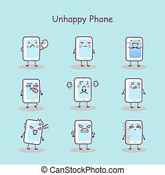 téléphone, malheureux, dessin animé, intelligent