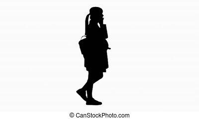 téléphone., marche, sac à dos, pregnant, silhouette, ...