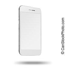 téléphone, mobile, écran, isolé, arrière-plan., blanc, intelligent