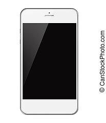 téléphone, mobile, écran, isolé, arrière-plan., noir, blanc, intelligent