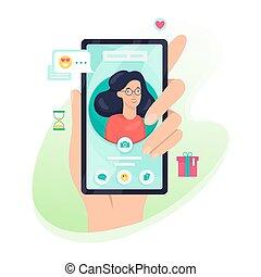 téléphone, mobile, écran, main, personne, avatar, tenue