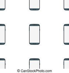 téléphone, mobile, écran, seamless, isolé, arrière-plan., noir, vide, blanc
