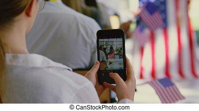 téléphone, mobile, cliqueter, photo, politique, orateur, ...