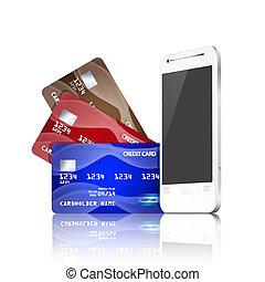 téléphone, mobile, concept., crédit, paiement, cartes.