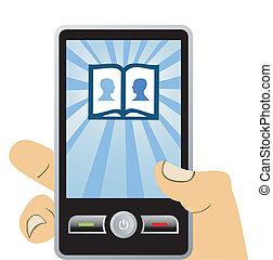 téléphone, mobile:, connecter, à, social, réseau