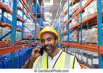 téléphone, mobile, conversation, mâle, ouvrier, entrepôt