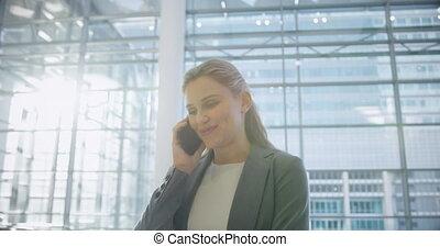 téléphone, mobile, conversation, vestibule, femme affaires, ...