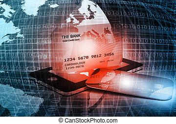 téléphone, mobile, crédit, intelligent, carte