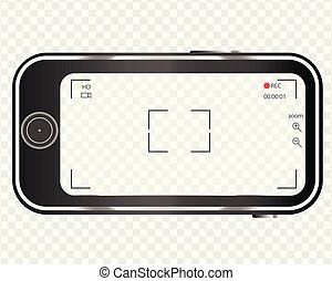 téléphone, mobile, enregistrement, vidéo, appareil-photo., transparent