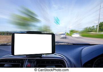 téléphone, mobile, foyer peu profond, effet, mouvement, champ, profondeur, sélectif, intelligent, fond, vide, barbouillage, route