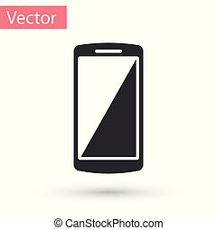 téléphone, mobile, gris, illustration, isolé, arrière-plan., vecteur, blanc, smartphone, icône