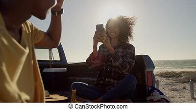 téléphone, mobile, homme photo, plage, femme, prendre, 4k
