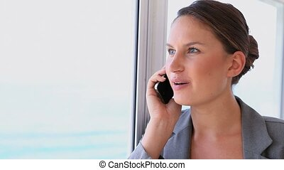 téléphone, mobile, il, femme affaires, jeune