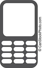 téléphone, mobile, illustration, arrière-plan., vecteur, noir, blanc, icône
