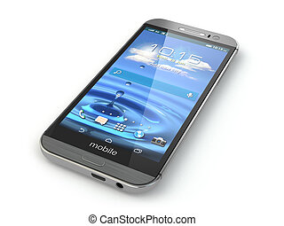 téléphone, mobile, isolé, arrière-plan., blanc, smartphone