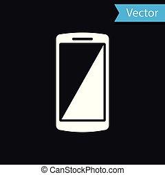 téléphone, mobile, isolé, illustration, arrière-plan., vecteur, noir, blanc, smartphone, icône