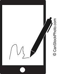 téléphone, mobile, signe., signature, stylus, arrière-plan., stylo, numérique, blanc