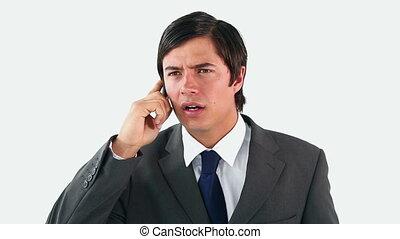 téléphone, mobile, utilisation, homme, sérieux