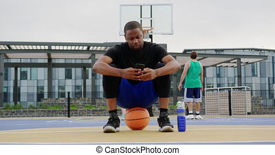 téléphone, mobile, utilisation, joueur, 4k, basket-ball