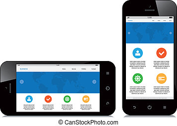 téléphone, mobile, webdesign, fond, sensible, blanc