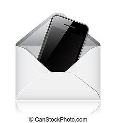 téléphone, moderne, enveloppe