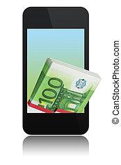 téléphone, moderne, euro