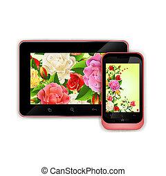téléphone, moderne, tablette numérique, pc