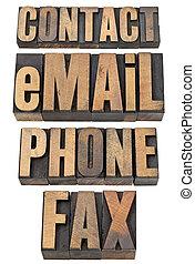 téléphone, mot, ensemble, contact, fax, email