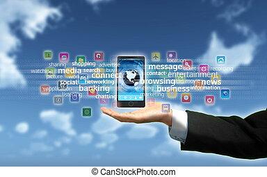 téléphone, multimédia, intelligent