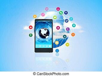 téléphone, multimédia, intelligent, internet