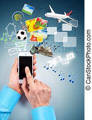 téléphone, multimédia, main