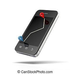 téléphone, navigation, intelligent