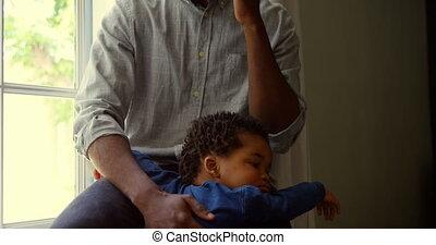 téléphone, noir, maison, mobile, confortable, vue, conversation, bébé, père, 4k, devant, jeune
