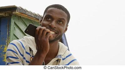 téléphone, noir, mobile, vue, conversation, ensoleillé, 4k, jour, jeune, devant, plage