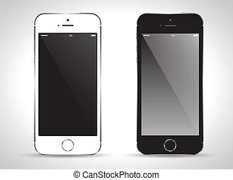 téléphone, noir, white., intelligent