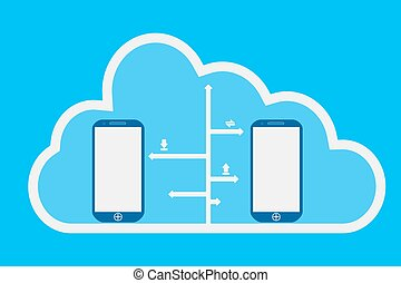 téléphone, nuage, calculer