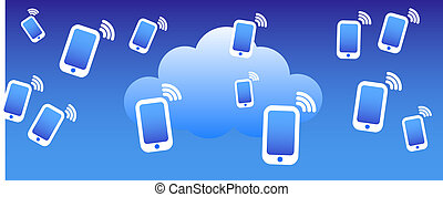téléphone, nuage, fond