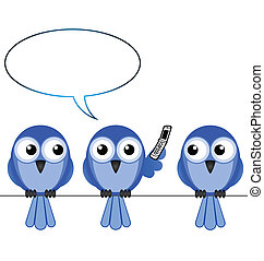 téléphone, oiseau, mobile