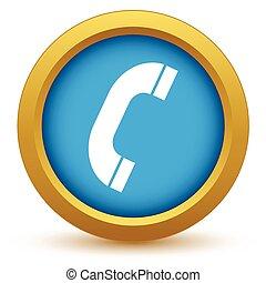 téléphone, or, icône